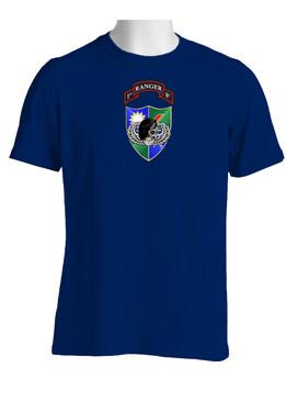 1-75 Ranger Battalion DUI-Black Beret (Chest)  Cotton Shirt
