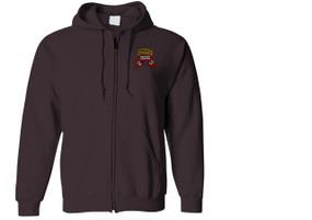 1-75th Ranger Battalion Original Scroll w/ Ranger Tab Embroidered Hooded Sweatshirt with Zipper
