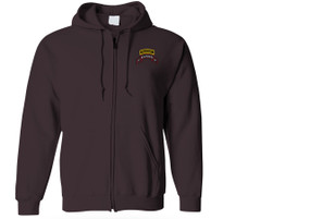 2-75th Ranger Battalion Scroll w/ Ranger Tab Embroidered Hooded Sweatshirt with Zipper