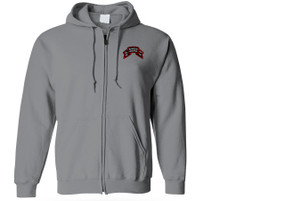 2-75th Ranger Battalion Original Scroll Embroidered Hooded Sweatshirt with Zipper