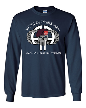 307th Combat Engineer Battalion (Airborne)) Long-Sleeve Cotton Shirt (FULL FRONT)