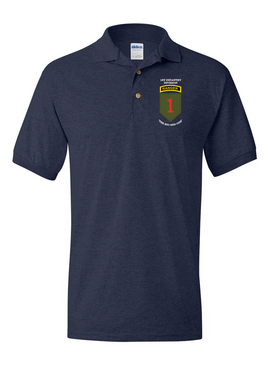 1st Infantry Division w/ Ranger Tab Embroidered Cotton Polo Shirt