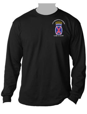 10th Mountain Division w/ Ranger Tab Long-Sleeve Cotton Shirt -(POCKET)