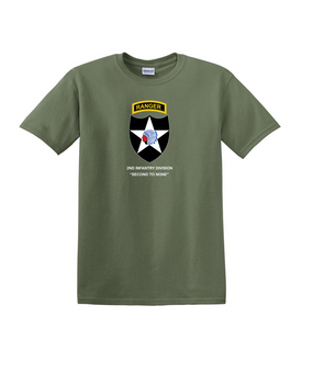 2nd Infantry Division w/ Ranger Tab Cotton T-Shirt-(Chest)