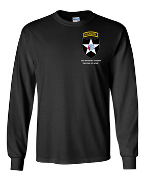 2nd Infantry Division w/ Ranger Tab Long-Sleeve Cotton Shirt -(Pocket)