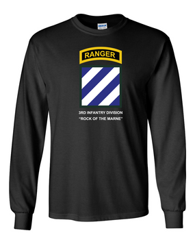 3rd Infantry Division w/ Ranger Tab Long-Sleeve Cotton Shirt -(Chest)