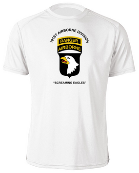101st Airborne Division w/ Ranger Tab Moisture Wick Shirt -(Chest)