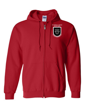 5th Special Forces Group V1  Embroidered Hooded Sweatshirt with Zipper