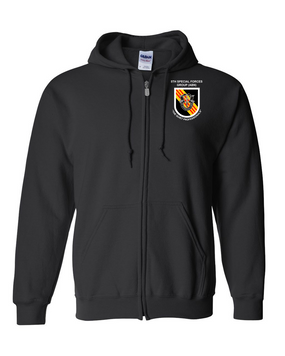5th Special Forces Group V2  Embroidered Hooded Sweatshirt with Zipper