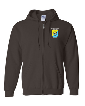 8th Special Forces Group  Embroidered Hooded Sweatshirt with Zipper