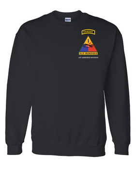 1st Armored Division w/ Ranger Tab Embroidered Sweatshirt