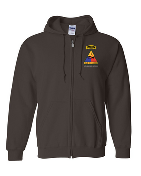 1st Armored Division w/ Ranger Tab Embroidered Hooded Sweatshirt with Zipper