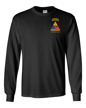 1st Armored Division w/ Ranger Tab Long-Sleeve Cotton Shirt-(Pocket)