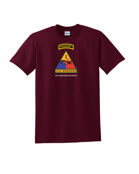1st Armored Division w/ Ranger Tab Cotton T-Shirt (Chest)
