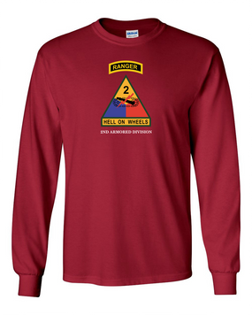 2nd Armored Division w/ Ranger Tab Long-Sleeve Cotton Shirt-(Chest)
