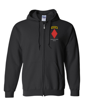 5th Infantry Division w/ Ranger Tab  Embroidered Hooded Sweatshirt with Zipper