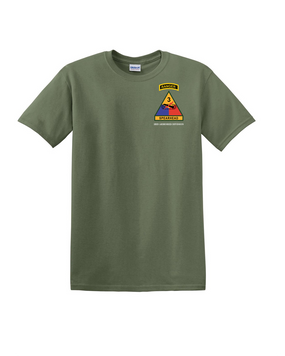 3rd Armored Division w/ Ranger Tab Cotton T-Shirt -(Pocket)
