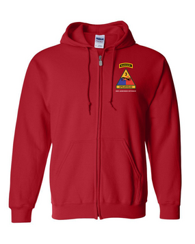 3rd Armored Division w/ Ranger Tab Embroidered Hooded Sweatshirt with Zipper