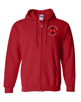 7th Infantry Division Embroidered Hooded Sweatshirt with Zipper (C)