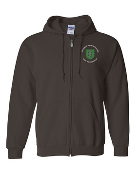 10th Special Forces Group Embroidered Hooded Sweatshirt with Zipper (C)