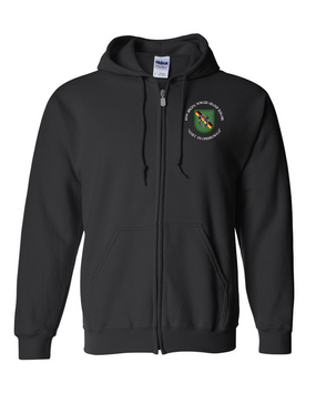 10th Special Forces Group (Europe)  Embroidered Hooded Sweatshirt with Zipper (C)