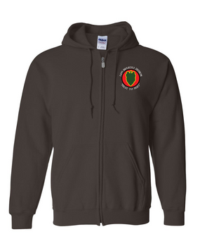 24th Infantry Division Embroidered Hooded Sweatshirt with Zipper (C)