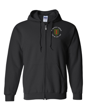 1st Infantry Division Embroidered Hooded Sweatshirt with Zipper (C)