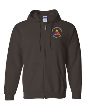 2nd Armored  Division Embroidered Hooded Sweatshirt with Zipper (C)