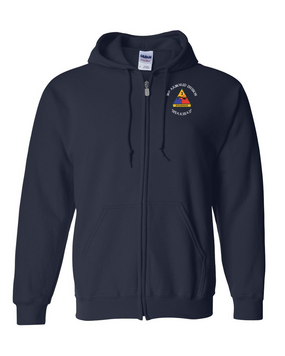 3rd Armored Division Embroidered Hooded Sweatshirt with Zipper (C)