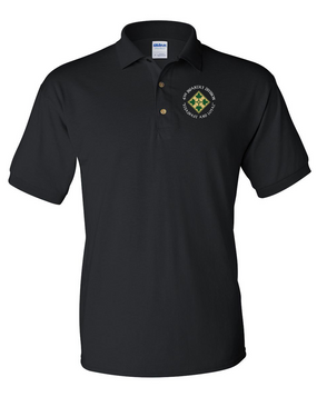 4th Infantry Division Embroidered Cotton Polo Shirt (C)