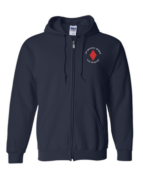 5th Infantry Division Embroidered Hooded Sweatshirt with Zipper (C)