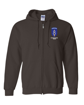 8th Infantry Division Airborne Embroidered Hooded Sweatshirt with Zipper