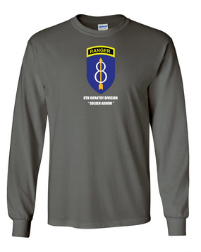 8th Infantry Division w/ Ranger Tab Long-Sleeve Cotton Shirt  -Chest