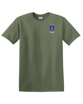 8th Infantry Division Airborne w/ Ranger Tab Cotton T-Shirt -Pocket