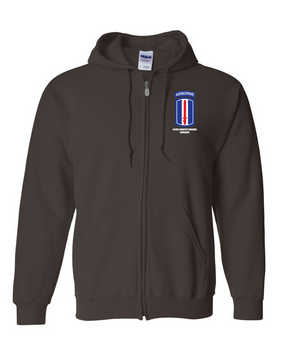 193rd Infantry Brigade Airborne Embroidered Hooded Sweatshirt with Zipper