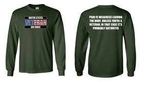 US Air Force Veteran Long-Sleeve Cotton Shirt  -Arthritis- (FF)