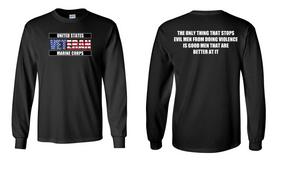US Marine Corps Veteran Long-Sleeve Cotton Shirt  -Evil- (FF)