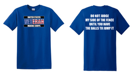 US Marine Corps Veteran Cotton T-Shirt -Fence-(FF)
