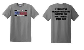 US Marine Corps Veteran Cotton T-Shirt -Flag-(FF)