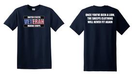 US Marine Corps Veteran Cotton T-Shirt -Lion-(FF)