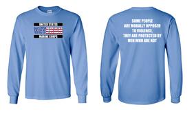 US Marine Corps Veteran Long-Sleeve Cotton Shirt  -Morally- (FF)