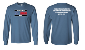 US Navy Veteran Long-Sleeve Cotton Shirt  -Evil- (FF)