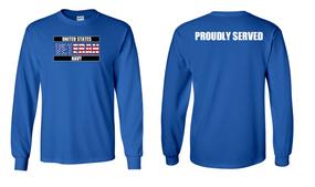US Navy Veteran Long-Sleeve Cotton Shirt  Proudly- (FF)