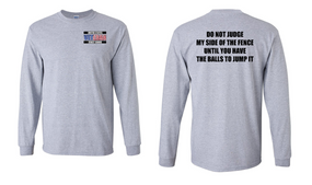 US Coast Guard Veteran Long-Sleeve Cotton Shirt- Fence- (P)