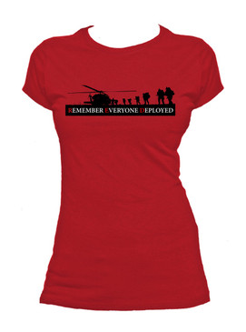 Ladies  RED - Remember Everyone Deployed  Cotton T-Shirt