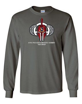 1/504th Parachute Infantry Regiment Spartan Long-Sleeve Cotton T-Shirt  (Chest)