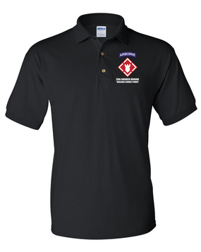 20th Engineer Brigade (Airborne) Embroidered Cotton Polo Shirt