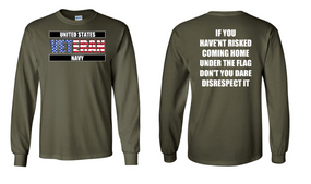 US Navy Veteran Long-Sleeve Cotton Shirt  -Flag Disrespect- (FF)