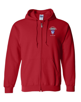 18th Airborne Corps Embroidered Hooded Sweatshirt with Zipper