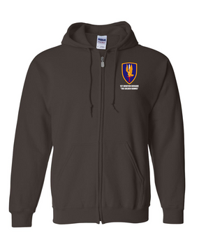 1st Aviation Brigade Embroidered Hooded Sweatshirt with Zipper
